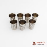 .Russian Engraved Vodka Cups Set Israel Zakhoder 84 Silver 1910 Kiev