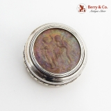 .French Round Pill Box Cherub Intaglio Gilt Interior 950 Sterling Silver