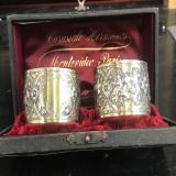 .German 800 Silver Gilt Pair Repousse Napkin Rings 1890