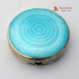 .Art Deco Blue Guilloche Enamel Compact Gilt Sterling Silver Foster Bailey 1930