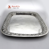 .Turkish Antique Silver Tray Ornate Repousse Border 19th Century