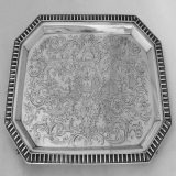 .Ten Broeck Family Salver Ornate Coin Silver 1847