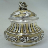 .Mexican Sterling Designer Large Tea Caddy Urn 1945 Villa