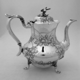 .Repousse Oak Leaf  Acorn Teapot Jones Ball and Co Boston 1854