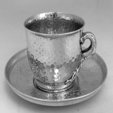 .Octopus Cup and Saucer Tiffany Arts and Crafts Sterling 1879