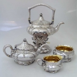 .Martelè 4 Piece Tea Set W/ Kettle on Stand 1906