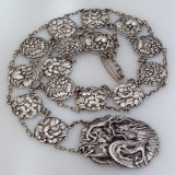 .Japanese Dragon Flower Belt Sterling Silver 1900