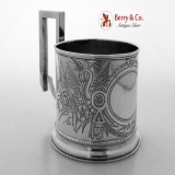 .Russian 84 Standard Silver Engraved Podstakannik Tea Glass Holder 1888