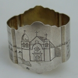 .Sterling Silver Napkin Ring San Carlos Boromeo Mission 1920