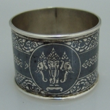 .Thai Sterling Silver Niello Napkin Ring
