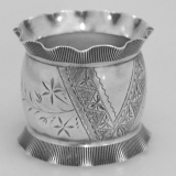 .Pie Crust Napkin Ring Wood and Hughes Coin Silver 1886