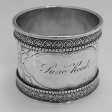 .Aesthetic Palmette Napkin Ring Wood and Hughes Sterling Silver 1880