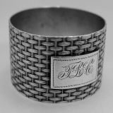 .Basket Weave Napkin Ring Wood Hughes Coin Silver 1875