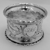 .American Coin Silver Acorn And Oak Leaf Repousse Napkin Ring 1860