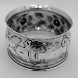 .American Coin Silver Floral Repousse Napkin Ring 1865