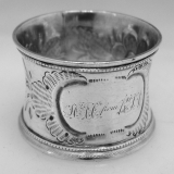 .American Coin Silver Floral Repousse Napkin Ring 1860