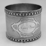 .American Coin Silver Engine Turned Napkin Ring 1875