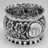 .English Sterling Silver Repousse Napkin Ring 1890