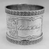 .Aesthetic Napkin Ring Wood and Hughes Sterling Silver 1890