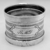 .American Coin Silver Engine Turned Napkin Ring 1865