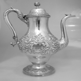 .Baltimore Repousse Coffee Pot A. E. Warner 1830 Coin Silver
