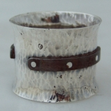.Arts and Crafts Napkin Ring Sterling Silver Steel 1960