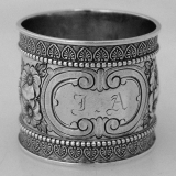.Aesthetic Palmette Napkin Ring Wood and Hughes Coin Silver 1880