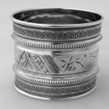 .Aesthetiс Style American Coin Silver Napkin Ring 1880