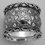 .Aesthetiс Style American Coin Silver Napkin Ring 1875
