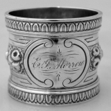 .Repousse Floral Napkin Ring Wood and Hughes Coin Silver 1875