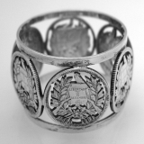 .Cut Work 2 Real Napkin Ring 6 Guatemalan Coins 1900