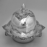 .Covered Butter Dish Ornate Floral Wreath Shreve Sterling Silver 1895