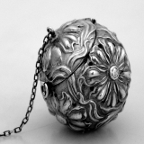 .Art Nouveau Tea Ball Floral Repousse Sterling Silver 1900