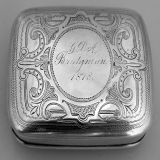 .Snuff Box American Wood Hughes 1878 Sterling Silver