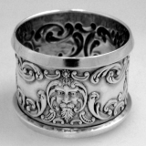 .Lion Napkin Ring Sterling SIlver Levi and Salaman Birmingham 1907