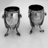 .Cauldron Footed Salts Gorham 1860 Coin Silver Pair