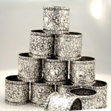 .Stieff Rose Large Napkin Rings Dozen No Monos Sterling Silver 1900
