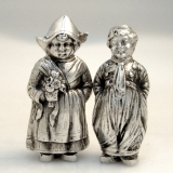 .German 800 Silver Silver Figural Salt and Pepper Shakers
