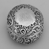.Repousse Floral Scroll Pill Box Sterling Silver 1880