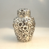 .Floral Repousse Tea Caddy Howard and Co New York Sterling Silver 1890