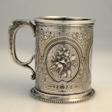 .Repousse Child′s Cup Bailey and Co Coin Silver 1868