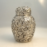.Sterling Silver Repousse Tea Caddy Knowles 1880