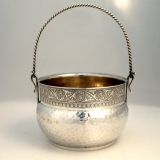 .Aesthetic Sugar Basket Wood and Hughes Sterling Silver Hand Hammered Bowl New York 1880