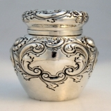 .Repousse Tea Caddy Black Starr and Frost Sterling Silver 1880