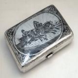 .Russian Troika Silver Niello Snuff Box 1900