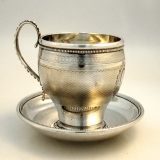 .Southern Coin Silver Cup & Saucer New Orleans Hyde & Goodrich 1860