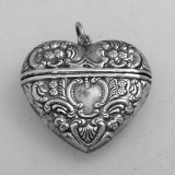 .American Sterling Silver Repousse Heart Locket Pendant 1930