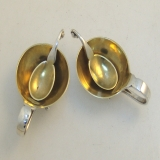 .Georg Jensen Salt Cellars Matching Spoons Sterling 1925