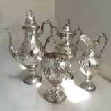 .American Coin Silver Tea Set Richard Fisher  Francis Cooper NYC 1854-1862