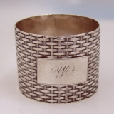 .American Coin Silver Basket Weave Napkin Ring Wood Hughes New York 1870